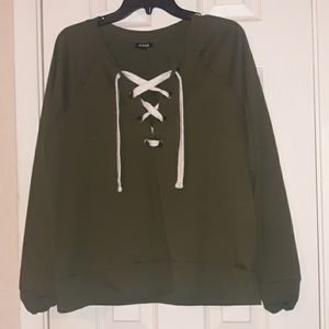 Lace up hunter green oversize sweater